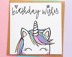 unicorn card etsy