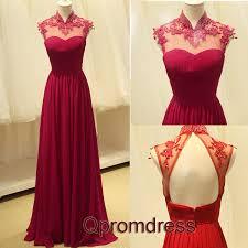 elegant wine red chffion open back high neck long prom dresses