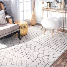 8 X 9 Area Rugs Transitional Vintage Moroccan Trellis Grey Area Rugs