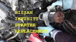 nissan maxima infiniti starter replacement with basic hand tools