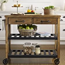 crosley roots rack kitchen cart with wood top u0026 reviews wayfair