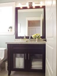 bathroom powder room ideas brown varnishes wooden floating vanity cabinet white solid slab