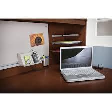 bush envoy corner computer desk with hutch in hansen cherry env005hc