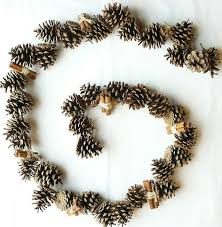 pine cone garland 6 or 12 foot with cinnamon sticks