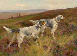 two setters on a grouse moor painting by celestial images
