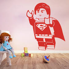 aliexpress com buy cartoon lego superman wall sticker boy room