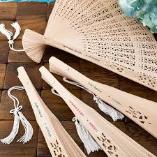 custom paper fans personalized carved sandalwood folding fan favors