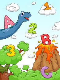 illustration of numbers and letters of the alphabet drawn against