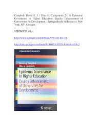 epistemic governance in higher education quality enhancement of
