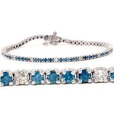 tennis blue bracelet images 2 00ct blue white diamond tennis bracelet 14k white gold jpg