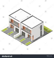 two story connected cottage flat roof stock vector 396709483