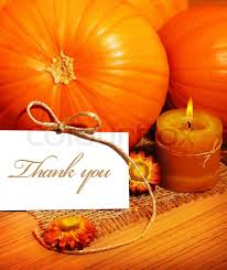 thank you thanksgiving greeting card with pumpkin decorations and