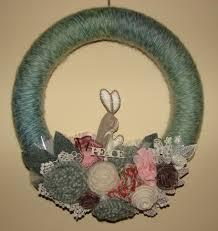 woolen bunny wreath craft crossing