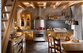 earthy rustic kitchen design idea with backsplash tile and