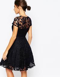 ted baker caree sheer lace overlay dress in blue lyst