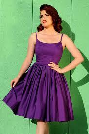 Sixties Style Swing Day Dress In Dark Purple Cotton Sateen Pinup
