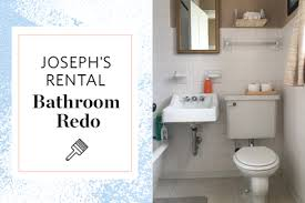 Bathroom Tile Makeover - a reversible rental bathroom makeover under 500 apartment therapy