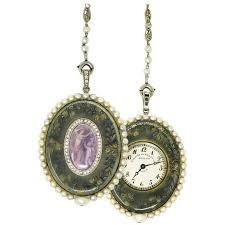 necklace pendant watch images Cartier platinum seed pearl enamel pocket watch pendant necklace jpg