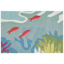 Koi Outdoor Rug Sinclair Seascape Blue 2 Ft X 3 Ft Indoor Outdoor Accent Rug