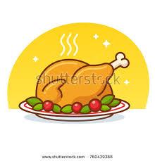 thanksgiving turkey roast chicken clip stock vector 760439368