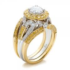 gold diamond rings custom two tone gold and yellow and white diamond engagement ring