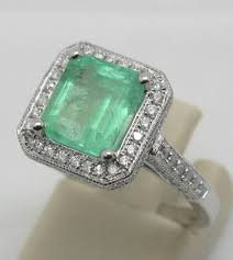 emerald rings uk 2018 white gold 14k columbian emerald diamond engagement