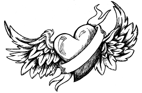 heart wings coloring pages banner coloringstar