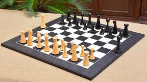 of minimalist hermann ohme chess set in dyed boxwood u0026 box wood