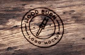 burn on wood wood burn logo mockup medialoot