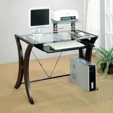 Dual Desk Home Office Clear Glass Top U0026 Cappuccino Legs Modern Home Office Desk