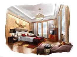 sketch perspective interior bedroom into a watercolor on paper