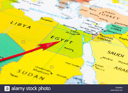 Map Egypt Red Arrow Pointing Egypt On The Map Of Africa Continent Stock