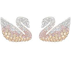 iconic earrings iconic swan pierced earrings large multi colored rhodium