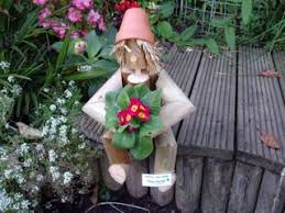 wooden flower potman gnomes garden ornament shop woodenmen co uk