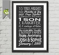 10 year anniversary gifts 10th anniversary gift tenth anniversary gift husband