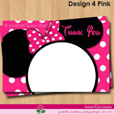Mickey Mouse Invitation Card Minnie Mouse Thank You Note Printable Red Or Pink Birthday Party