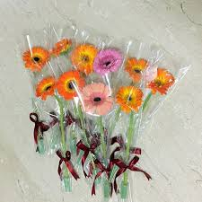 gerbera bouquet single stalk gerbera bouquet with ribbon small flower gift