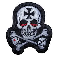 maltese cross skull with crossbones and dice patch quality biker
