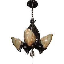 Art Deco Ceiling Light Fixtures Midwest Lighting Cast Bronze Art Deco Slip Shade Chandelier From