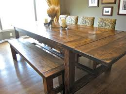 farmhouse table and chairs with bench dining room table with upholstered bench brown reclaimed wood