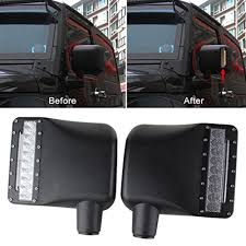 jeep wrangler door mirrors 2x for jeep wrangler rear view side mirrors housing lights with