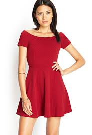 forever 21 textured knit skater dress in red lyst