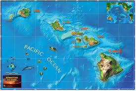 Hawaii On World Map Hawaiian Islands Wall Map Maps Com