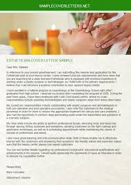 esthetician cover letter sample sample cover letters
