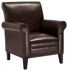 Brown Leather Accent Chair Ryker Club Chair Transitional Armchairs And Accent Chairs By