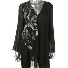 ombre blouse alfani s v neck sheer bell sleeve black floral print tunic