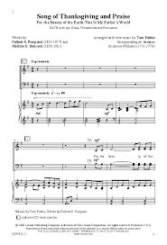 song of thanksgiving and praise satb by t j w pepper sheet