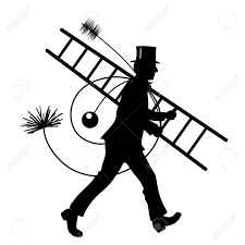 stylized illustration of chimney sweeper at work stock photo