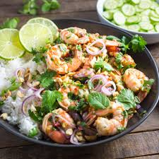quick spicy thai shrimp salad nerds with knives