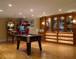 interior endearing basement basement game area with rustic style